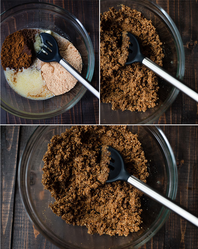 Gingersnap Pie Crust - Combining Ingredients