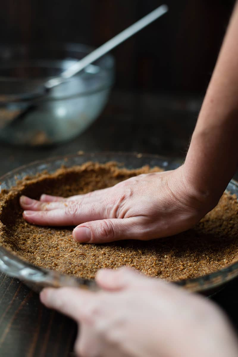 Gingersnap Pie Crust - Pressing into Dish