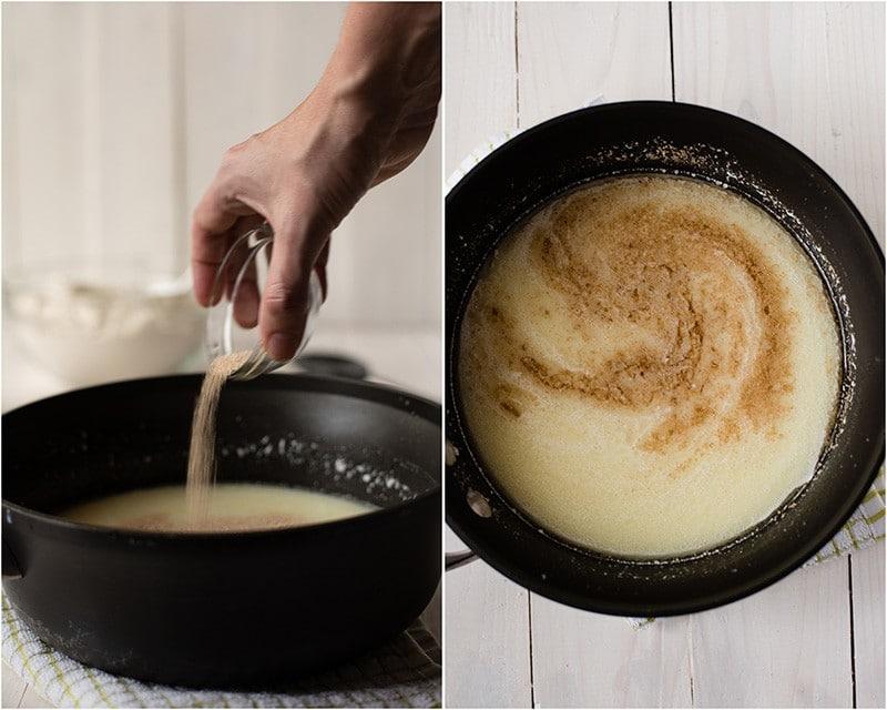 Easy Cinnamon Roll Recipe - Adding The Yeast