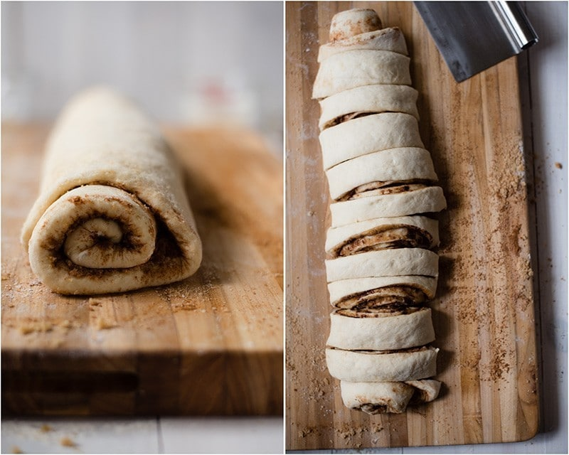 Easy Cinnamon Roll Recipe - Cutting The Rolls