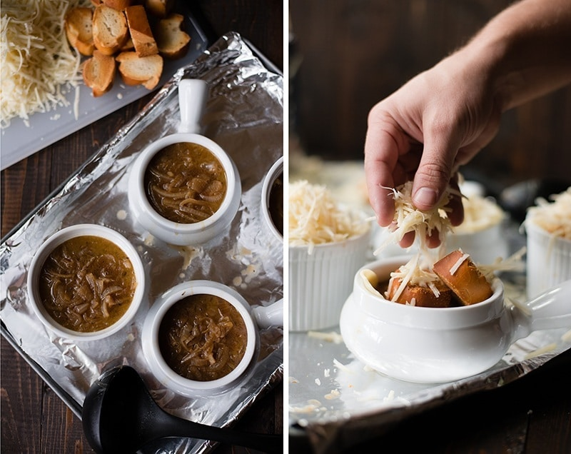 Side by side images of the assembly of French Onion Soup, with the soup in the bowl and the baguette and cheese being added.