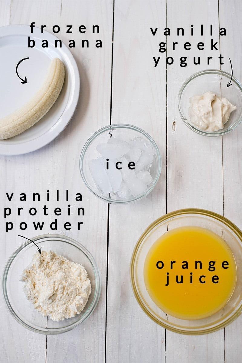 Orange Protein Shake - Ingredients