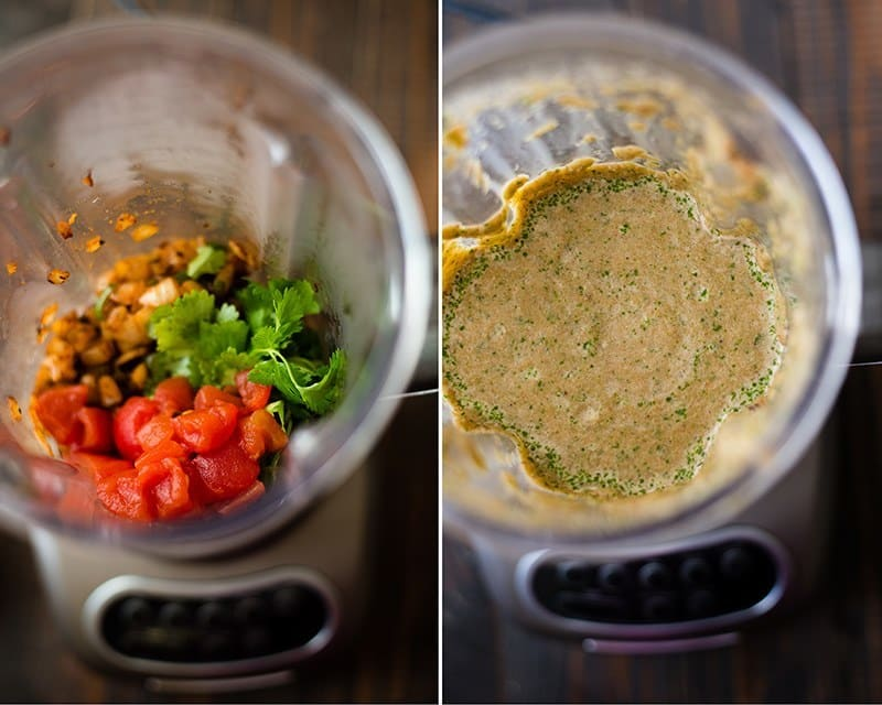 Side by side views of ingredients for Queso Dip With Ground Beef, ready to blend and then, blended.