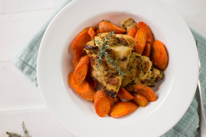 Dijon-Roasted Chicken And Carrots • A Sweet Pea Chef