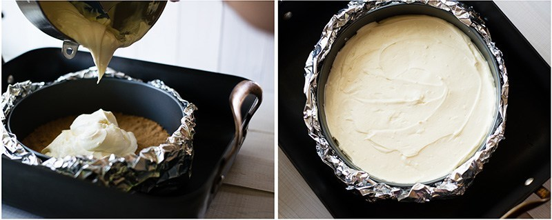 Simple Cheesecake Recipe - Adding The Filling To The Crust