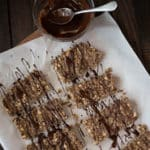 No-Bake Chocolate Peanut Butter Protein Bars Square Recipe Preview Image