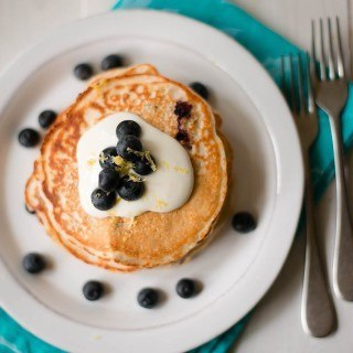 Lemon Blueberry High Protein Pancakes