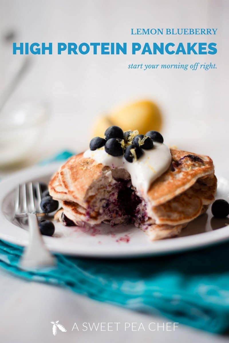 Lemon Blueberry High Protein Pancakes These Lemon Blueberry High Protein Pancakes are the perfect easy and healthy breakfast - they're high in protein and super delicious - you wont even miss the flour! | A Sweet Pea Chef