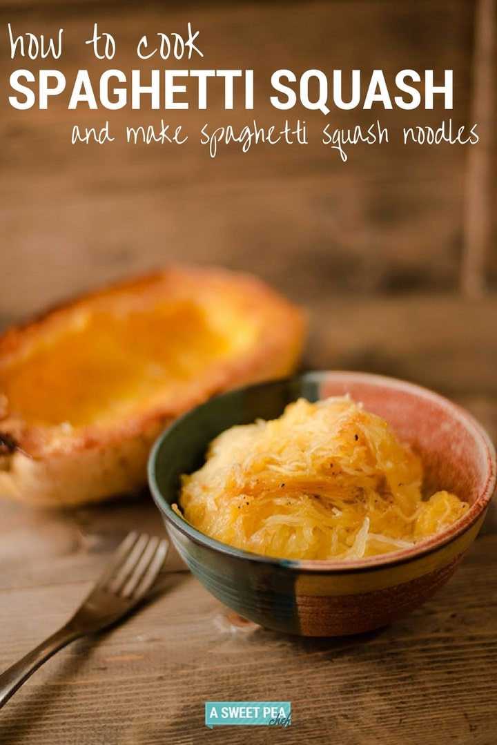 How To Cook Spaghetti Squash and Make Spaghetti Squash Noodles | Just 5 minutes of prep time and you can make delicious, easy, and healthy spaghetti squash noodles for a low carb, gluten-free, and healthy pasta alternative! | A Sweet Pea Chef
