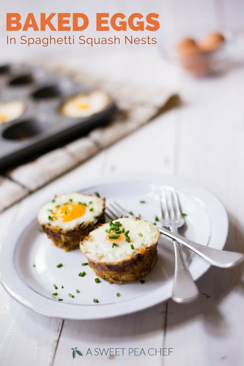 Baked Eggs In Spaghetti Squash Nests | Love baked eggs? Let me show you how to make baked eggs in spaghetti squash nests for a beautiful, easy, paleo, and gluten-free grab and go breakfast idea! | A Sweet Pea Chef