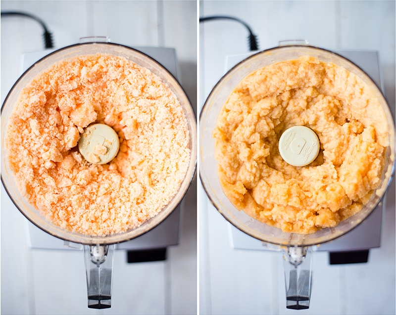 Frozen chunks of cantaloupe pulsed into a thick, soft mixture to make homemade cantaloupe sorbet - how the food processor is used to make cantaloupe sorbet without an ice cream maker