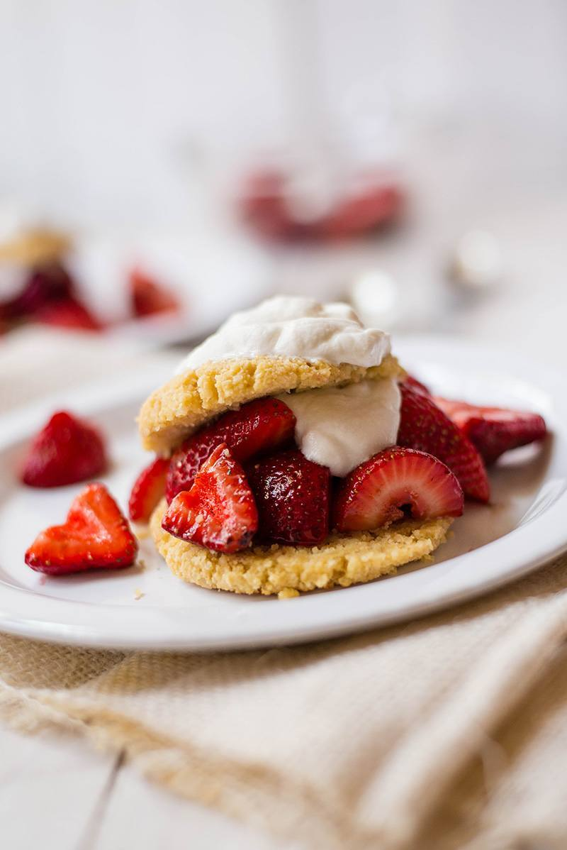 Gluten Free Strawberry Shortcake + Vegan Whipped Cream Topping