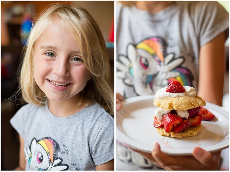 daughter Jordan; Right: gluten free almond flour shortcake with strawberries