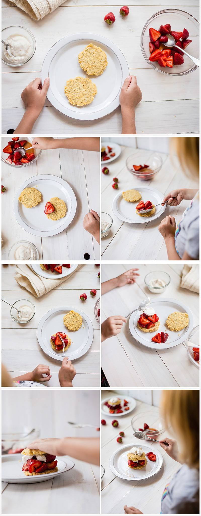 Step by step photos on how to make and assemble gluten free strawberry shortcake
