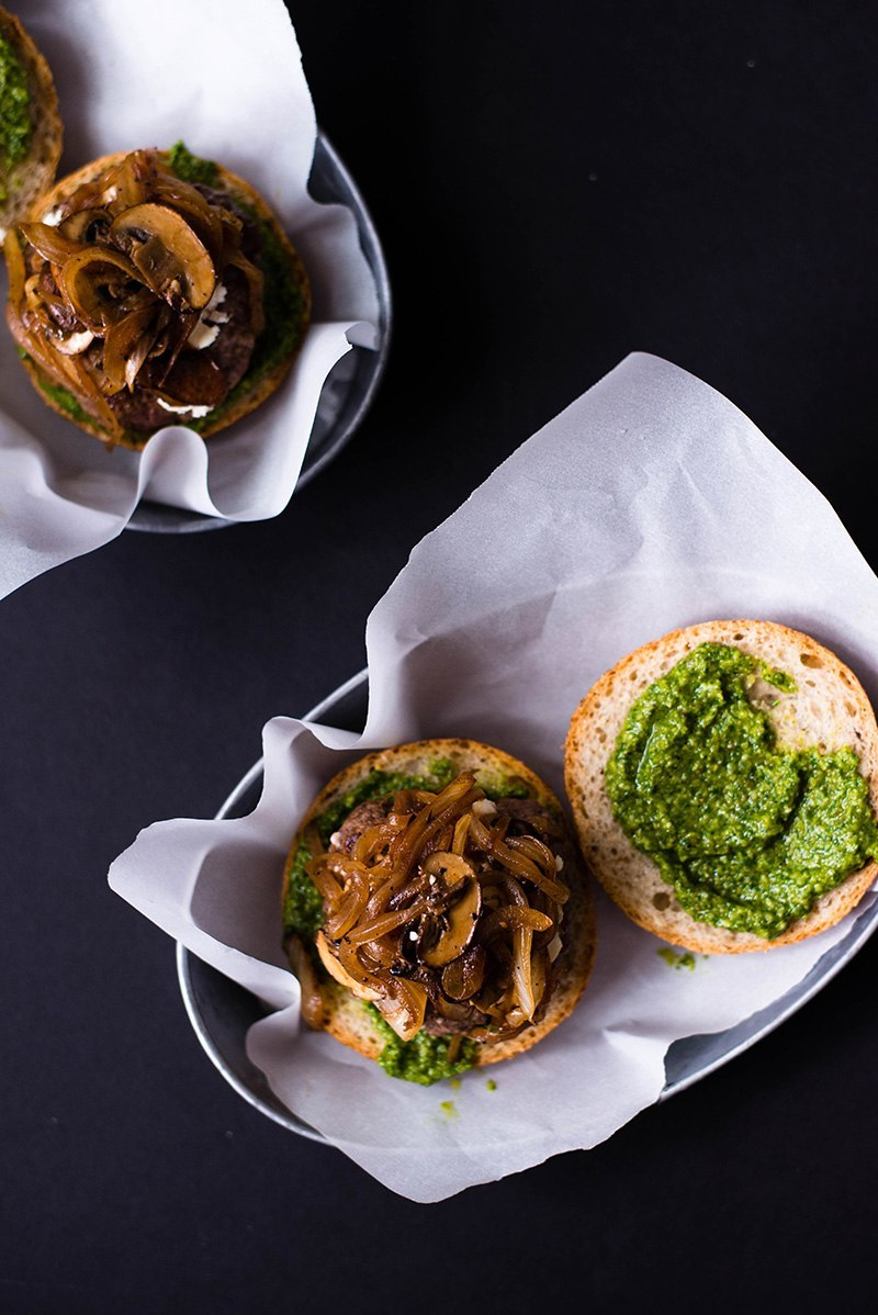 Pesto And Goat Cheese Burger - #pesto #goatcheese #burger #goatcheeseburger #bestburger #asweetpeachef photo and recipe by Lacey Baier of www.asweetpeachef.com