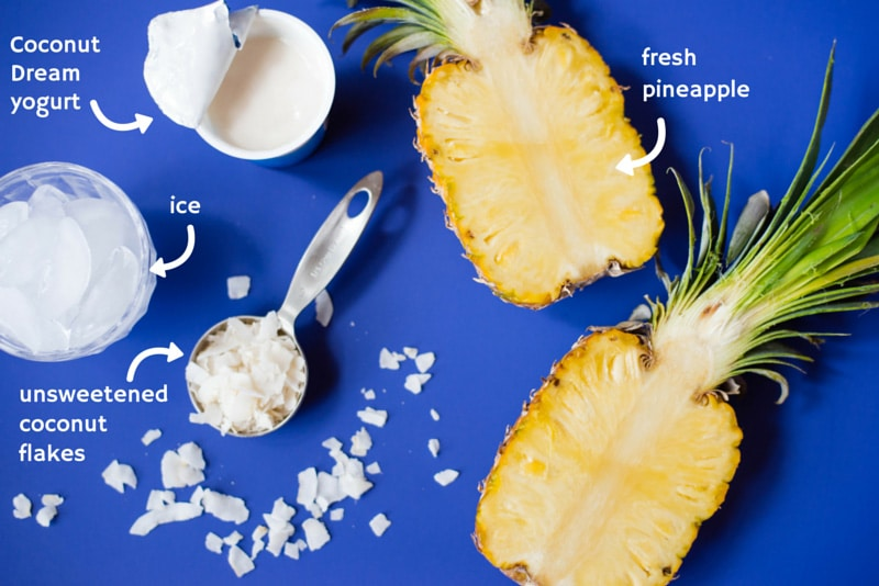 Healthy Pina Colada Smoothie - A healthy and non-dairy alternative to fruity pina coladas using Coconut Dream Yogurt | Recipe and photos by Lacey Baier of www.asweetpeachef.com #asweetpeachef
