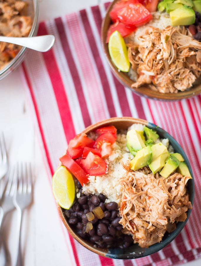 Slow Cooker Chicken Burrito Bowls | Delicious, healthy, and clean burrito bowls that use slow cooker shredded chicken and cauliflower rice | www.asweetpeachef.com
