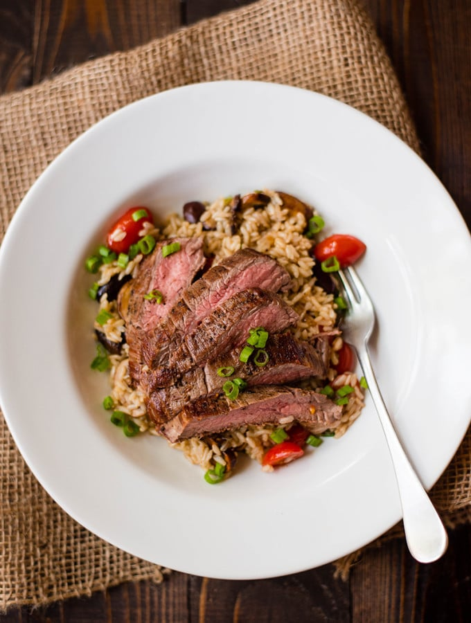Brown Rice Pilaf With Flank Steak | A delicious, savory, and healthy weeknight dinner. www.asweetpeachef.com