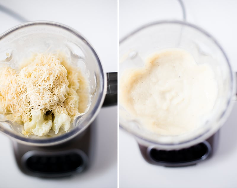 Before and after pics of a kitchen blender with the steamed cauliflower, parmesan cheese, vegetable broth, salt, pepper and then afterwards, the creamy blended cauliflower cheese sauce.