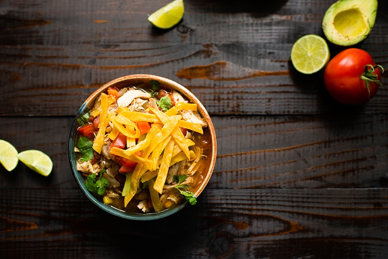 Slow Cooker Chicken Tortilla Soup | So delicious, easy, and healthy! www.asweetpeachef.com