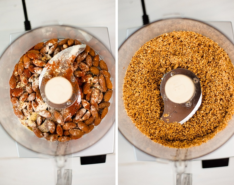 Before and after photo of whole almonds pulsed in a food processor, ready to be used in baked almond chicken strips recipe