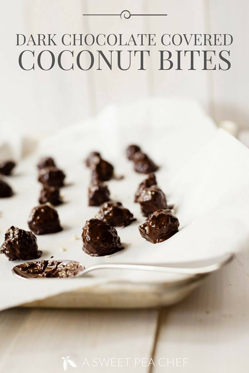 Dark Chocolate Covered Coconut Bites | Easy, no-bake, and clean sweet treats. www.asweetpeachef.com