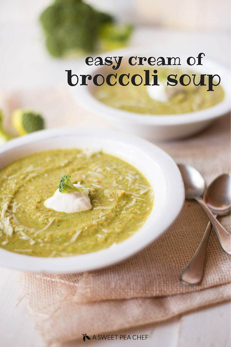 Easy Cream Of Broccoli Soup   Vegetarian, delicious and cream-free - this is a healthy and easy cream of broccoli soup!   A Sweet Pea Chef