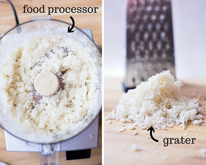 Two options for how to make cauliflower rice in order to make cauliflower pizza crust - either use a food processor (left) or without a food processor and using a grater (right) to make the cauliflower pizza crust.