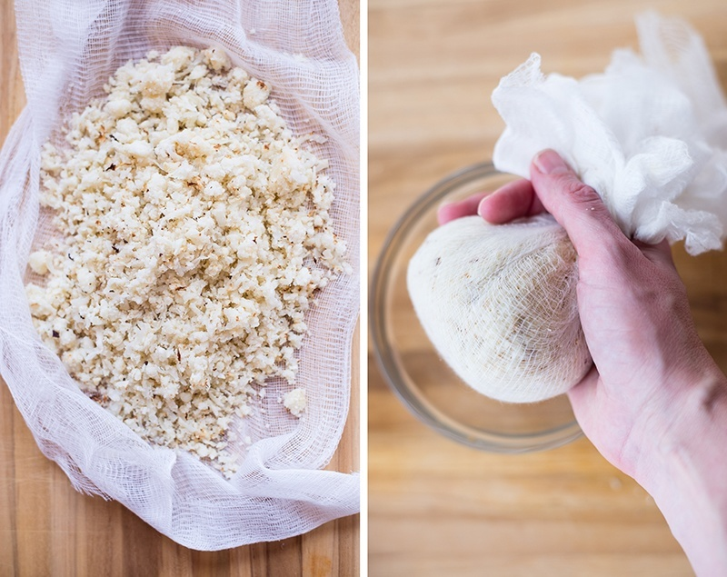 Two side by side images of how to make cauliflower pizza crust. On left, the steamed grated cauliflower rice is setting on cheesecloth, and is ready to squeeze out excess moisture. On right, the cheesecloth is gathered and is squeezing out all excess moisture from the cauliflower rice.