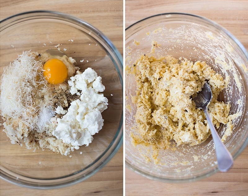 Two side by side images of a bowl of ingredients for the cauliflower pizza crust. Left image is all ingredients, including egg, goat cheese, parmesan cheese, salt, pepper, and cauliflower. Right side is the same bowl, but with all the ingredients mixed together and ready to spread out into a dough.