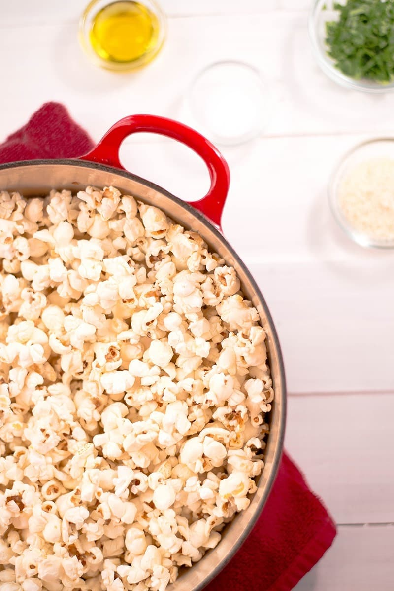 Parmesan And Sea Salt Popcorn | A healthy way to snack! www.asweetpeachef.com