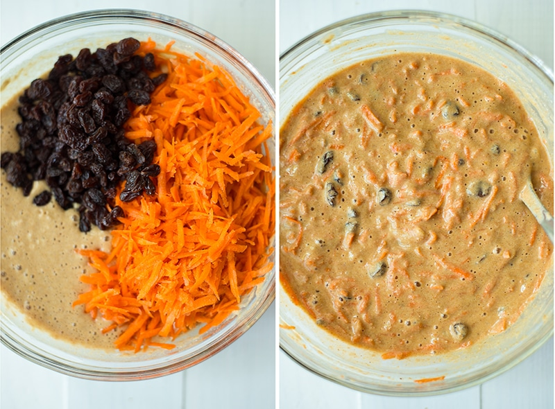 Bowl of grated carrots and raisins to be mixed in the healthy carrot cake batter on the left and, on the right, the healthy carrot cake recipe batter is mixed.