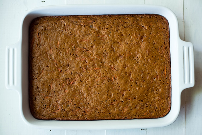 High angle photo of the baked healthy carrot cake, ready to be garnished with frosting