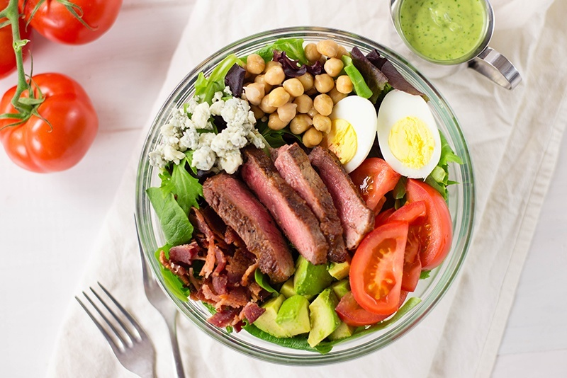 steak cobb salad with creamy avocado cilantro lime dressing a