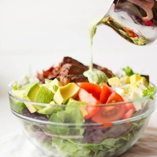 Steak Cobb Salad | Delicious, easy, and healthy steak cobb salad with creamy avocado lime dressing - SO YUM! | asweetpeachef.com