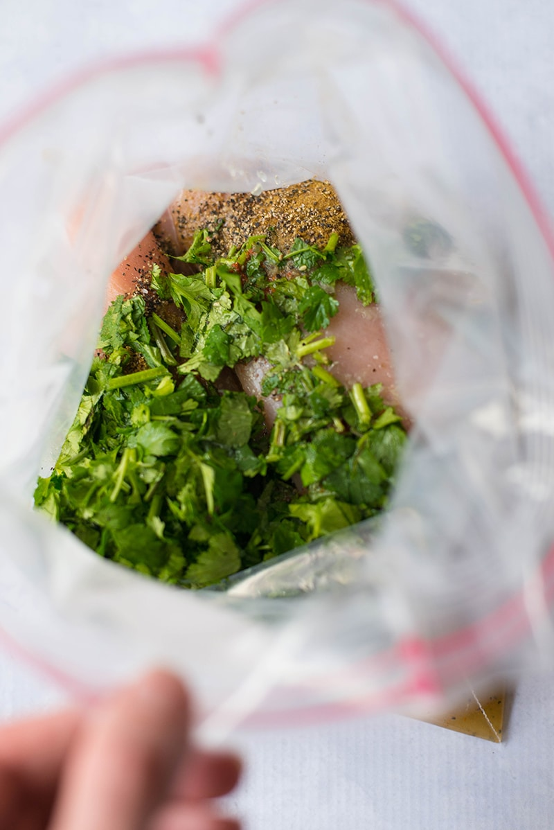 Freezer bag filled with boneless skinless chicken breast and cilantro lime marinade, ready to seal and place in the refrigerator or freezer to marinate.