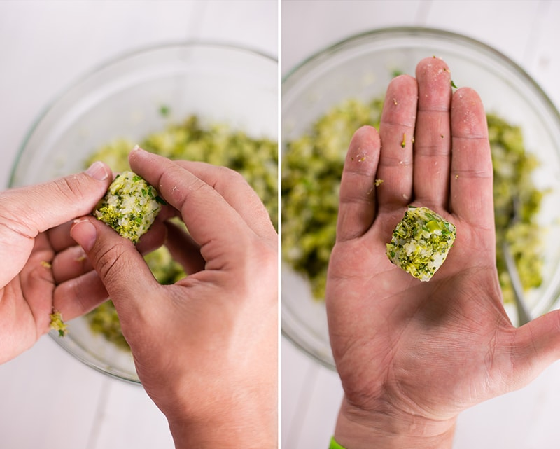 Side by side images of hands forming the broccoli mixture into broccoli tots that will be ready to bake in the oven.