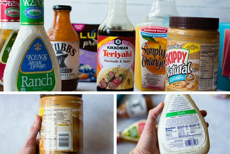 Images of bottled grocery items that contain hidden sugar such as salad dressing and peanut butter, along with closeups of the peanut butter and salad dressing ingredient labels.