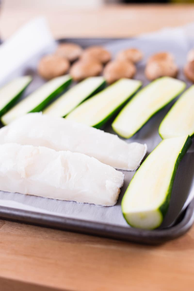 Baked Sea Bass & Zucchini Sheet Pan Meal | Easy, fast, healthy, and delicious! | asweetpeachef.com