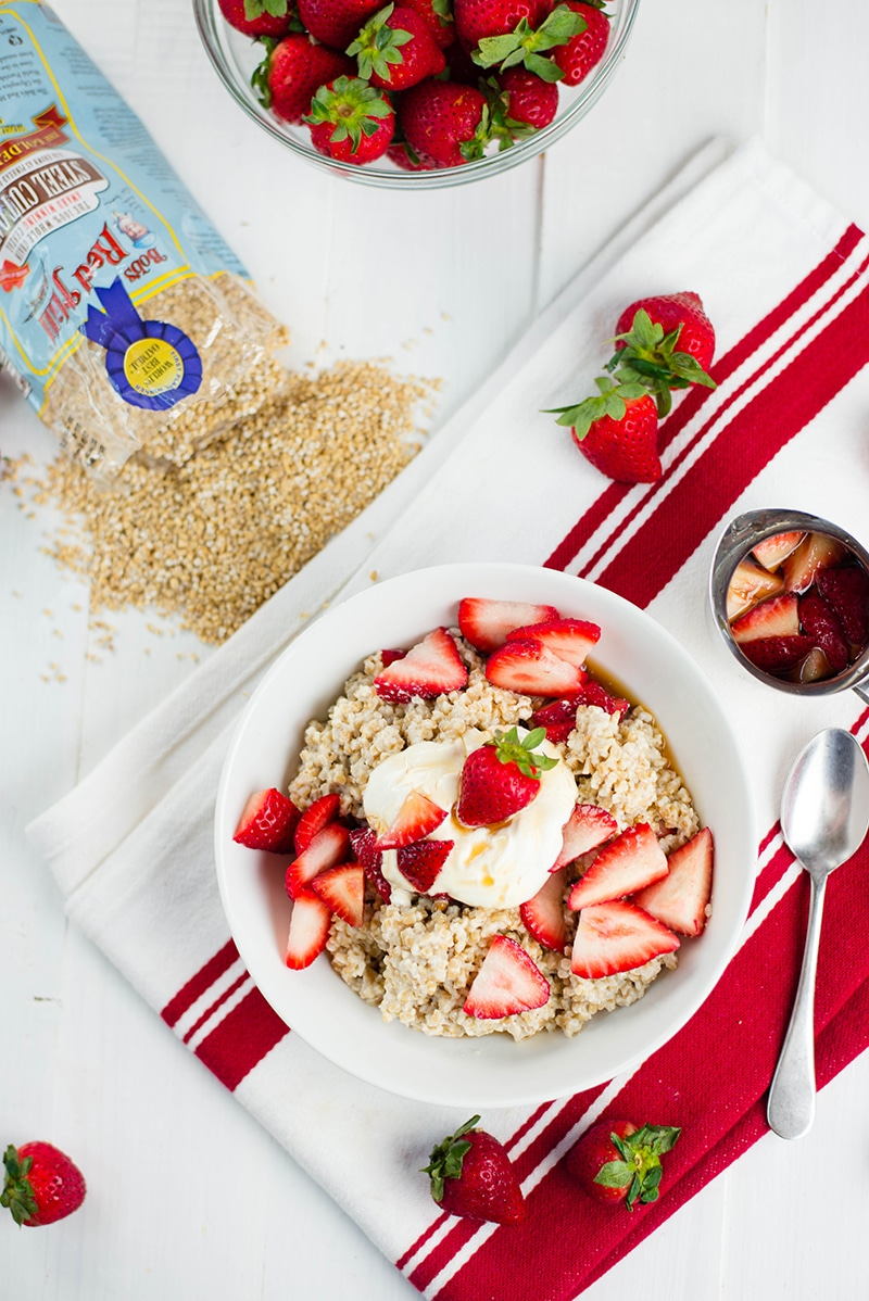 Strawberries And Cream Steel Cut Oats | Such a delicious and healthy way to enjoy oatmeal! | asweetpeachef.com