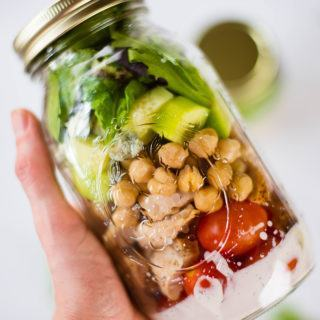Chicken Cobb Mason Jar Salad | Looking for some make ahead recipe inspiration? It's time to think outside the box and prepare this delicious Chicken Cobb Mason Jar Salad with a clean ranch dressing. This is a delicious, nutrition-packed lunch that will fill you up and make those mid-day meals a whole lot more interesting! | A Sweet Pea Chef