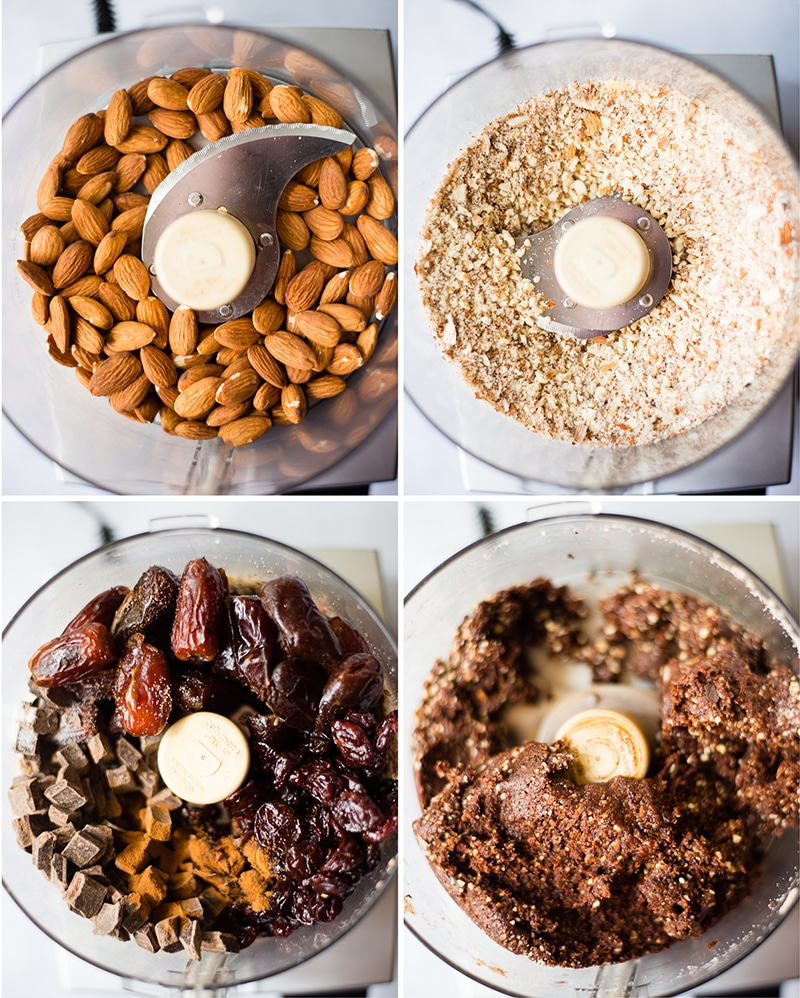 Before and after photos of nut and dried fruit ingredients pulsed in a food processor to make dark chocolate cherry energy bites to show how to make energy bites.
