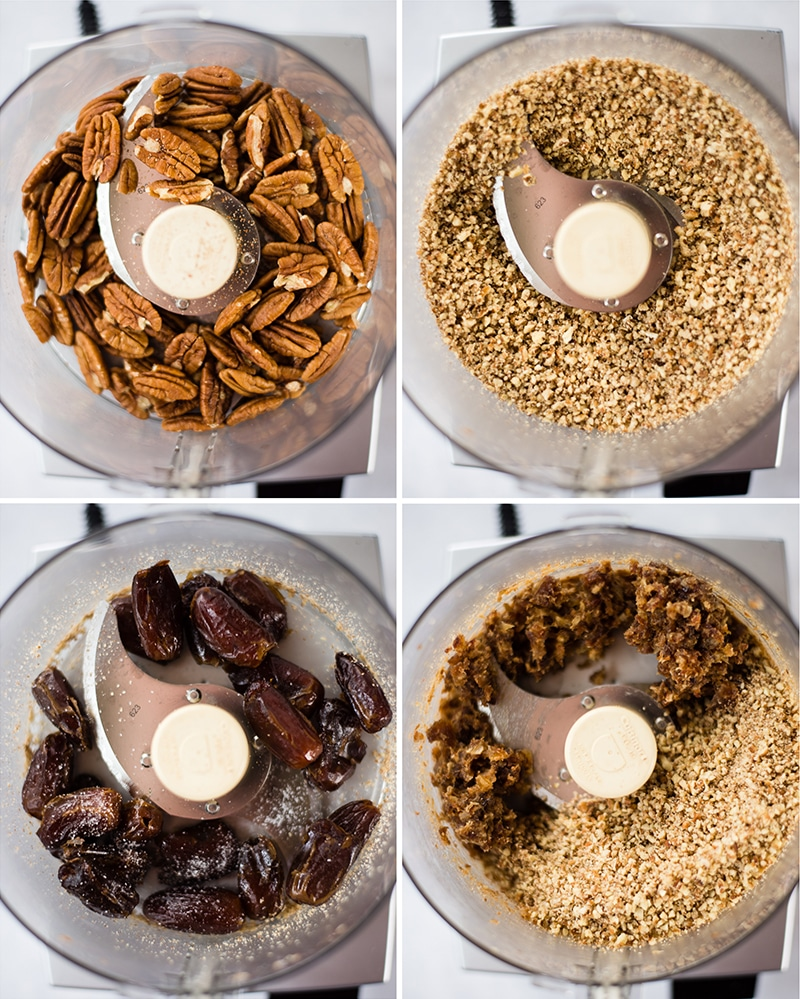 Overhead images of a food processor. The first image is raw pecans, the second is processed pecans, the third is pitted dates, and the fourth is a combo of processed dates and pecans.