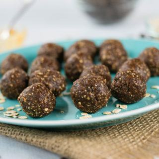 No Bake Chocolate Peanut Butter Energy Balls | Easy, high protein snack that's ready in less than 10 minutes! | A Sweet Pea Chef