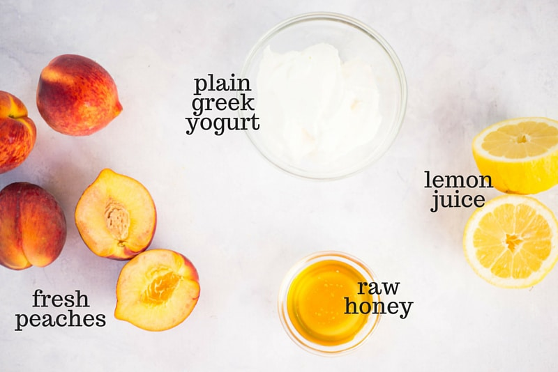 Fresh peaches, plain Greek yogurt, lemon juice, and raw honey – the four ingredients used to make peach frozen yogurt recipe