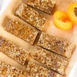 Apricot, Almond & Flaxseed Homemade Energy Bars Square Recipe Preview Image