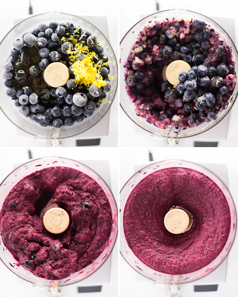 Step by step photos of how to make lemon blueberry sorbet in a blender, first by adding all the ingredients together and then by pulsing it until they are all well combined
