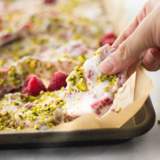 Frozen Yogurt Bark with Raspberries and Pistachios