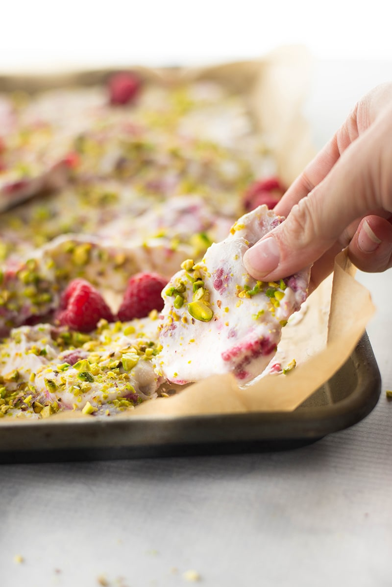 Frozen Yogurt Bark With Raspberries & Pistachios | A cool, sweet treat that makes a great healthy alternative to ice cream! | A Sweet Pea Chef