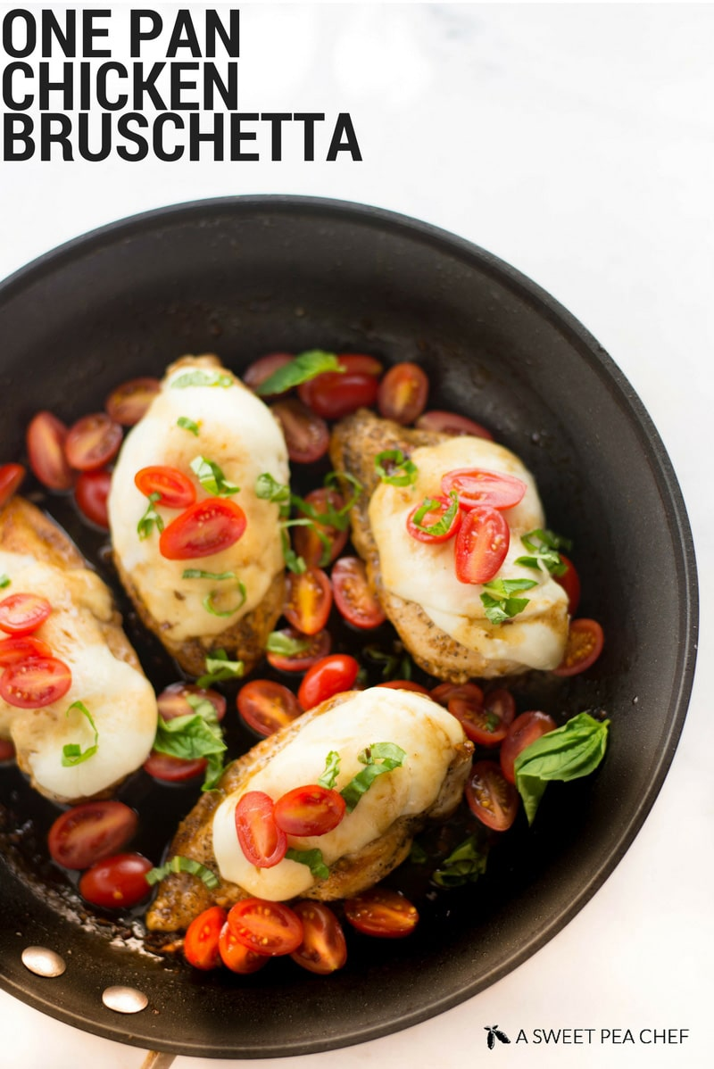 One Pan Chicken Bruschetta | This one pan chicken bruschetta is fresh, flavorful, healthy, and ready in less than 25 minutes! | A Sweet Pea Chef